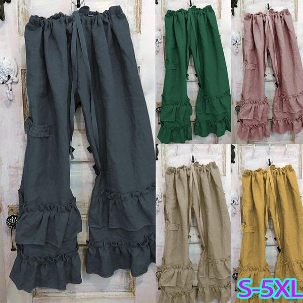 Plus Size, ruffled, Casual pants, pants