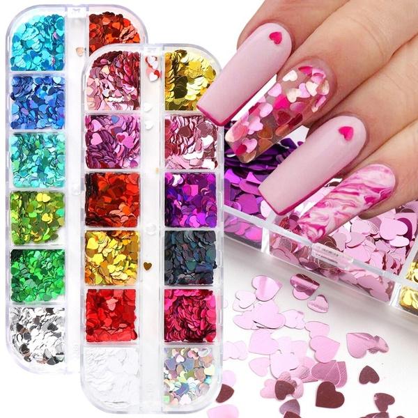 nail decoration, Heart, nail decals, Laser