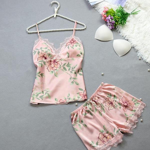 night dress, silksatin, flowerbabydollpajama, silksleepwear