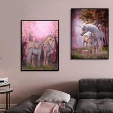 pink, horse, Flowers, Wall Art