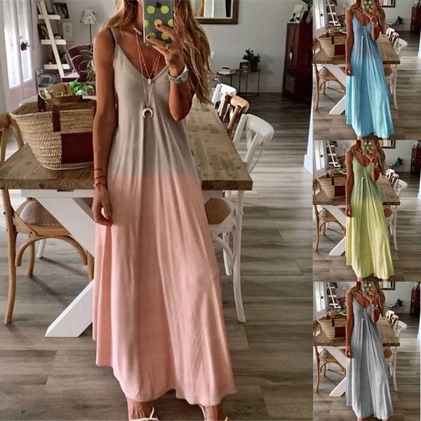 suspenders, Summer, long skirt, gradient