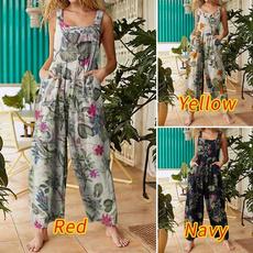 suspenders, Women Rompers, Plus Size, Floral print