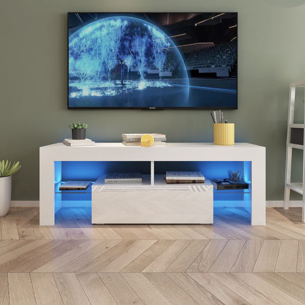 High Gloss Tv Cabinet With Led Light, Tv Stand Media Storage Cabinet