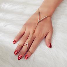 Jewelry, Chain, adjustablebracelet, braceletwithringwomen