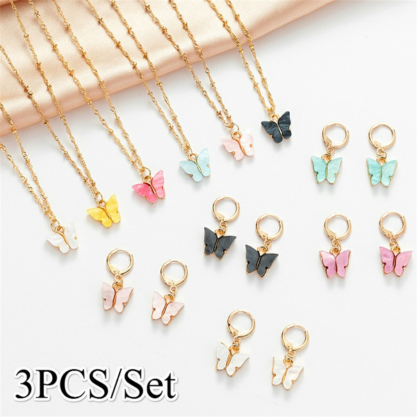simpleearringnecklaceset, butterfly, Fashion, Jewelry