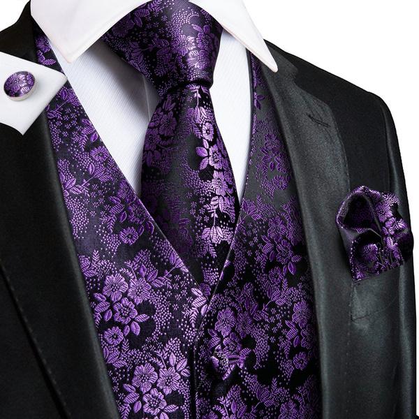 New Men/'s Paisley Tuxedo Vest Waistcoat /& necktie /& Bow tie /& Hankie dark purple
