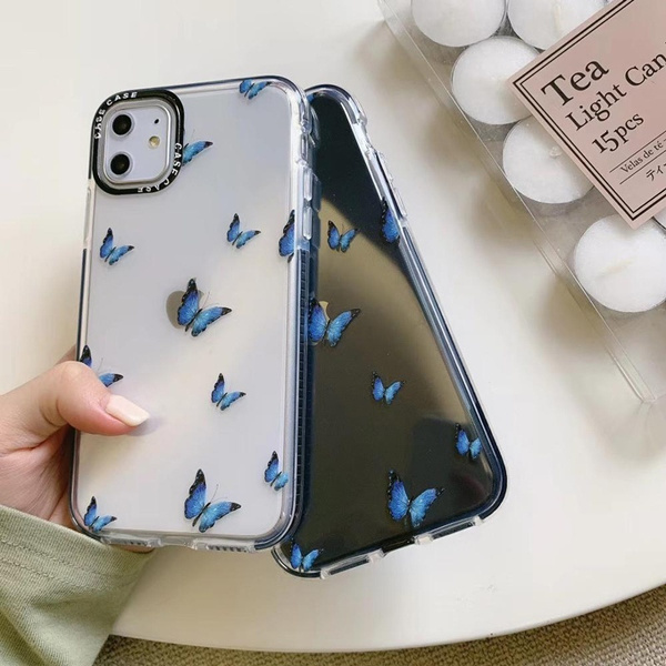 New Fashion Blue Butterfly Shockproof Transparent Phone Cases for Iphone 11 Pro X XS Max XR 7 8 Plus Soft Clear Transparent TPU Back Cover Case | Wish
