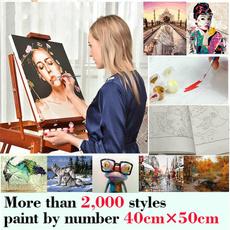 paintbynumber, diy, oldpeople, Oil Painting