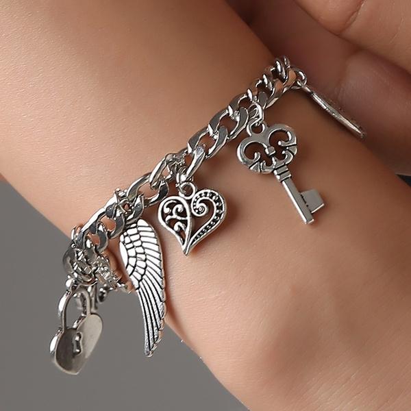 Charm Bracelet, Heart, Jewelry, Angel