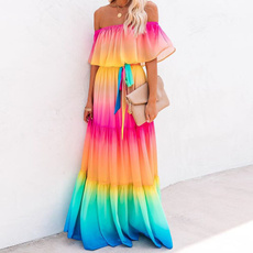 Summer, Strapless Dress, sexy club dress, long dress