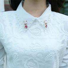 blouse, Turn-down Collar, DIAMOND, velvet