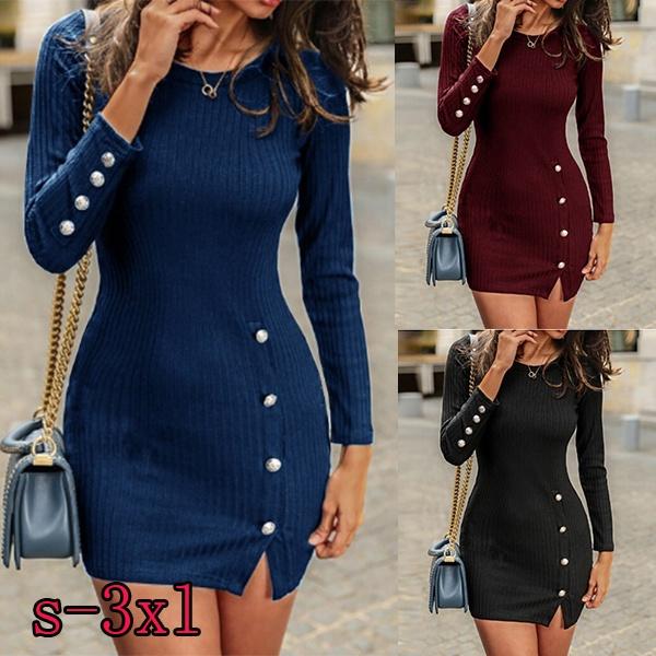short dresses, sleeve dress, Winter, Sleeve