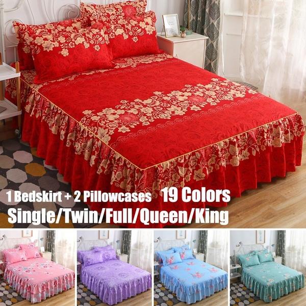 floralbedcover, bedskirtking, bedspreadset, bedskirtsqueensize