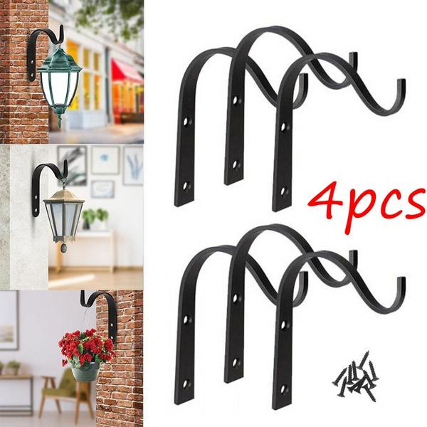 4pcs Set Iron Wall Hook Heavy Duty Plant Hanger Bracket Coat Clothes Hanger Hook For Hanging Lantern Planter Outdoor Wall Garden Hook Decor Wish