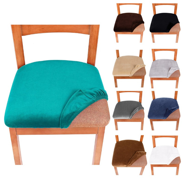 1 4 Pcs Soft Velvet Dining Room Chair, Dining Room Chair Seat Cushion Covers