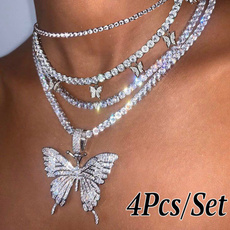 butterfly, whitebutterflychock, Fashion necklaces, Chain