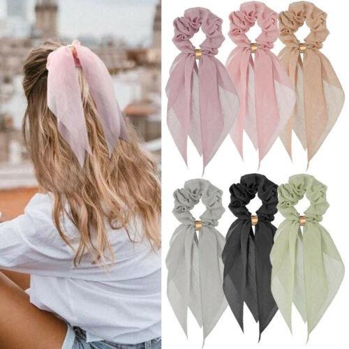 Womens Girls Elastic Ponytail Scarf Bow Hair Rope Ties Scrunchies Ribbon Band yu
