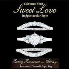 Sterling, Engagement Wedding Ring Set, Princess, wedding ring