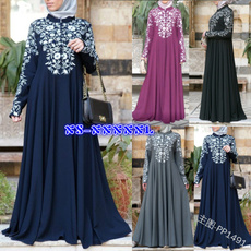 Stand Collar, Swing dress, Flowers, sleeve dress
