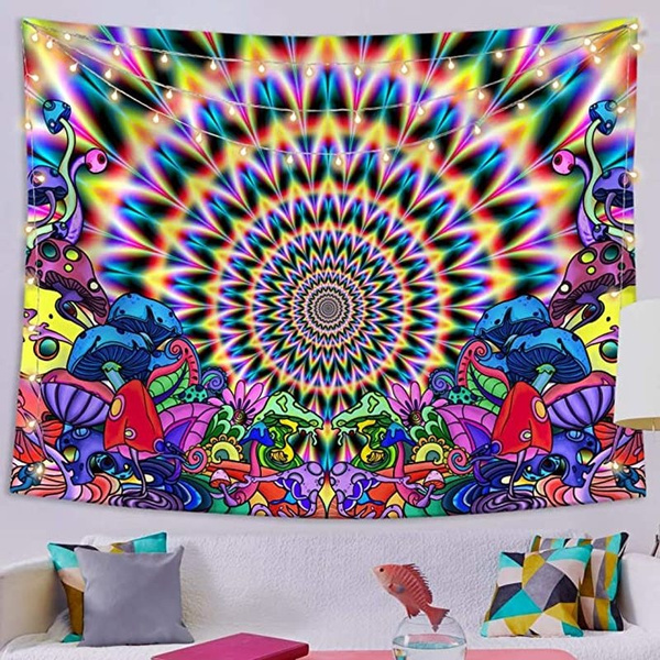 Hippie Mandala Tapestry Trippy Mushroom Wall Hanging Room Tapestries Home Decor