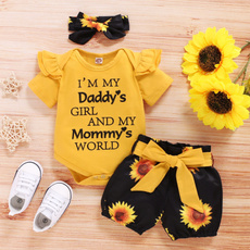 Shorts, babyromper, Sunflowers, Sleeve