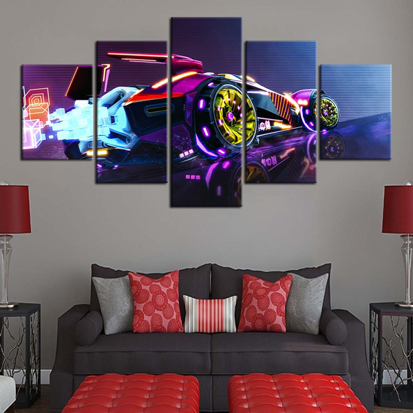 5 Pieces Rocket League Video Game Poster Canvas Art Home Decor Wall Stickers Hd Wallpaper Wall Art Birthday Gifts Wish