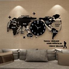 decoration, Modern, worldmapwallclock, Office