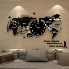 decoration, Modern, worldmapwallclock, Office