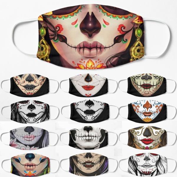 sugarskullmask, mouthmask, skull, printedfacemask