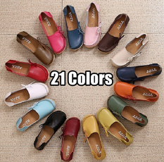 Flats, Fashion, candy color, leather