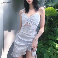 Summer, Fashion, Necks, slim dress