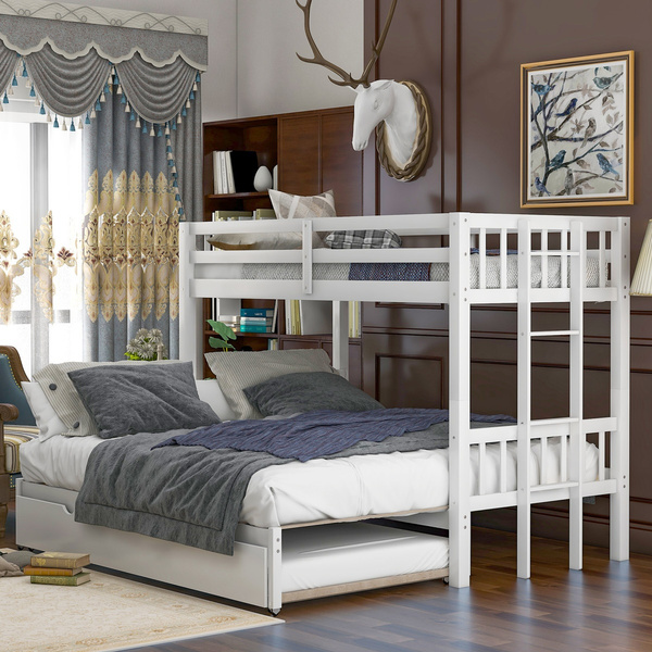 White Twin Over Twin King Pull Out Bunk Bed Frame With Trundle And Wood Slats And Ladder Home Bedroom Furniture Wish