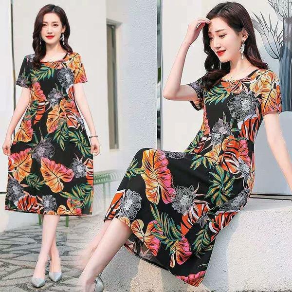 long skirt, Fashion, looseskirt, printeddresse