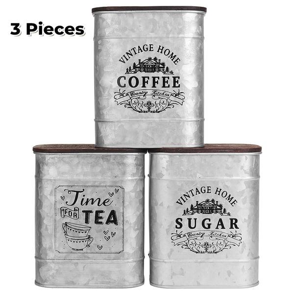 Vintage Kitchen Tea Coffee Sugar Jars, Metal Storage Canisters