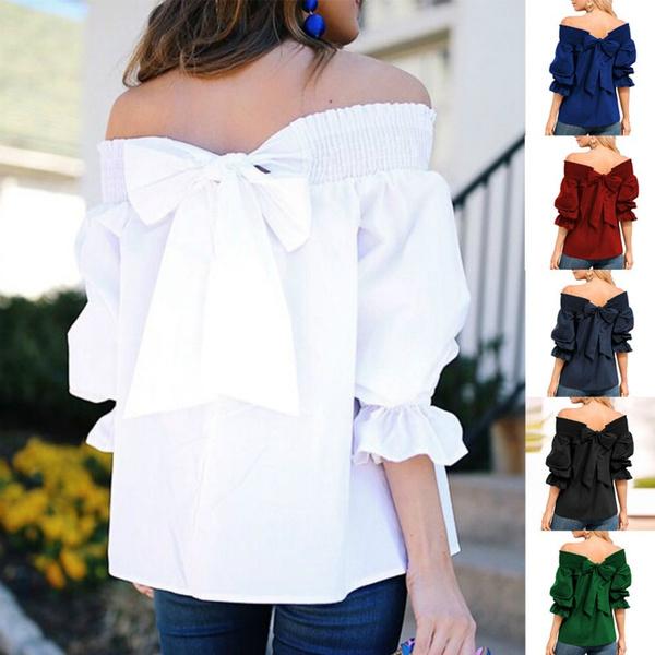 blouse, bowknot, slashneck, off shoulder