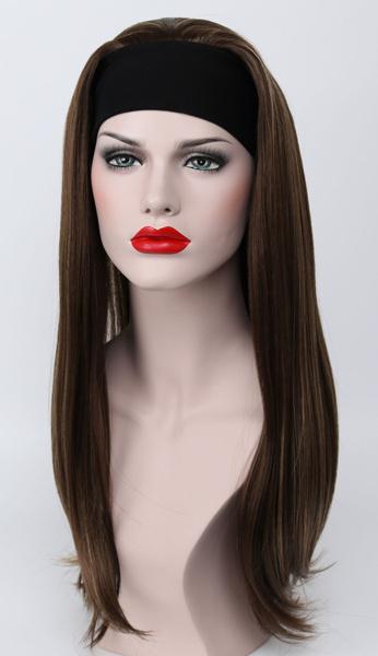 wig, brown, Straight, half