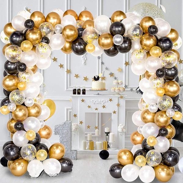 blacklatexballoon, gold, weddingdecorationballoon, goldconfettiballoon