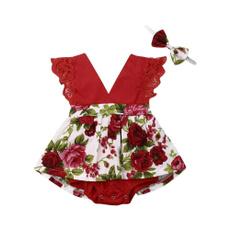 Summer, Flowers, Lace, babysuit