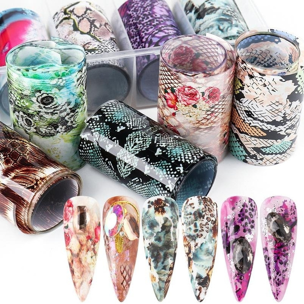 nailfoilset, art, Beauty, snakepatternnailsticker