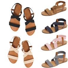 Summer, Sandals, Elastic, Flats