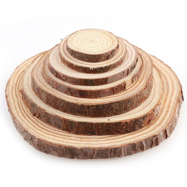 3 12cm Thick 1 Pack Natural Pine Round Unfinished Wood Slices Circles With Tree Bark Log Discs Diy Crafts Wedding Party Painting Wish