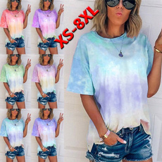 Summer, womens top, printed shirts, Plus size top