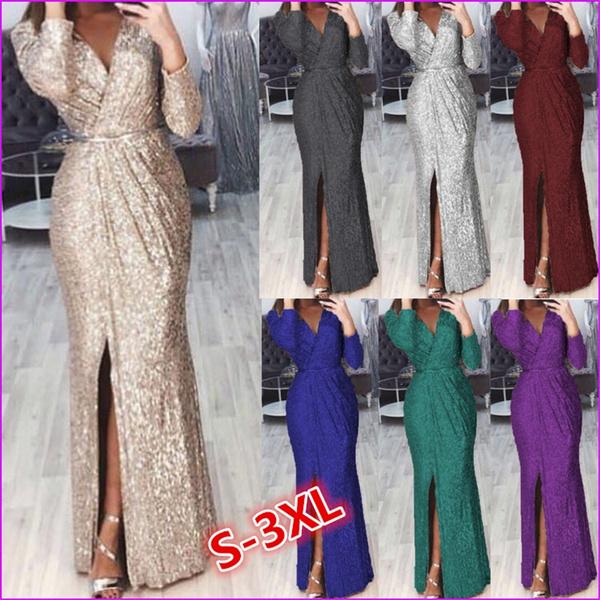 dressforwomen, Deep V-neck Dress, long dress, Evening Dress