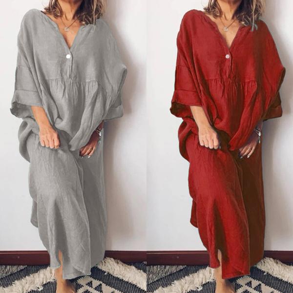 Autumn Dress, Fashion, Deep V-neck Dress, solidcolordres