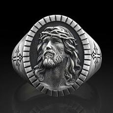 Sterling, jesuschrist, knightring, 925 sterling silver