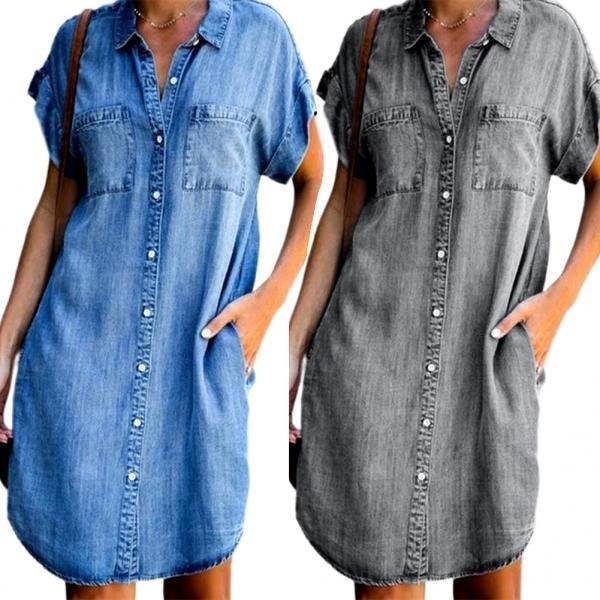denim dress, irregularhemdre, plus size dress, Dress