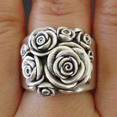 roseflowerring, Sterling, 925 sterling silver, Rose