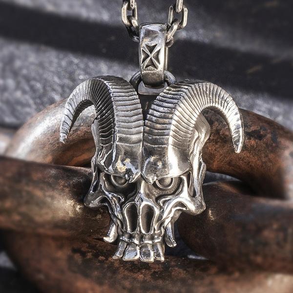 skullnecklace, Men, punk necklace, Stainless Steel