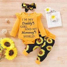 ruffle, Sunflowers, pants, Long Sleeve