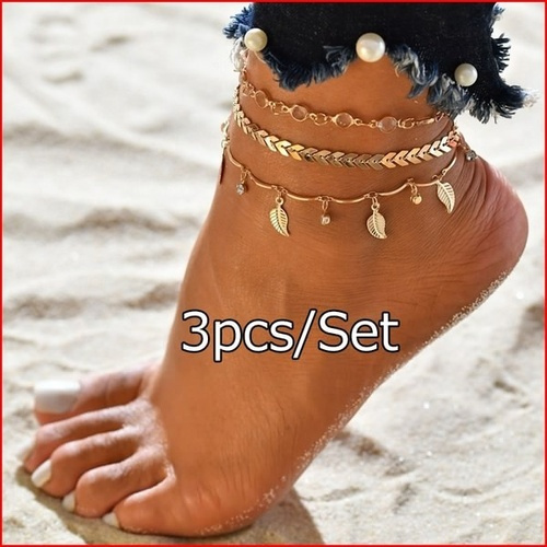 ankletsforwomen, Anklets, simplechain, gold